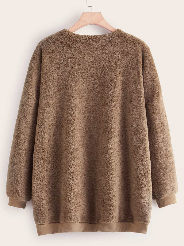 Plus Solid Drop Shoulder Teddy Coat - 𝐄𝐑𝐔𝐌𝐉𝐔𝐒