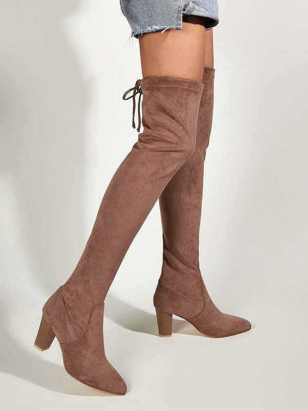Point Toe Chunky Suede Thigh High Boots - 𝐄𝐑𝐔𝐌𝐉𝐔𝐒
