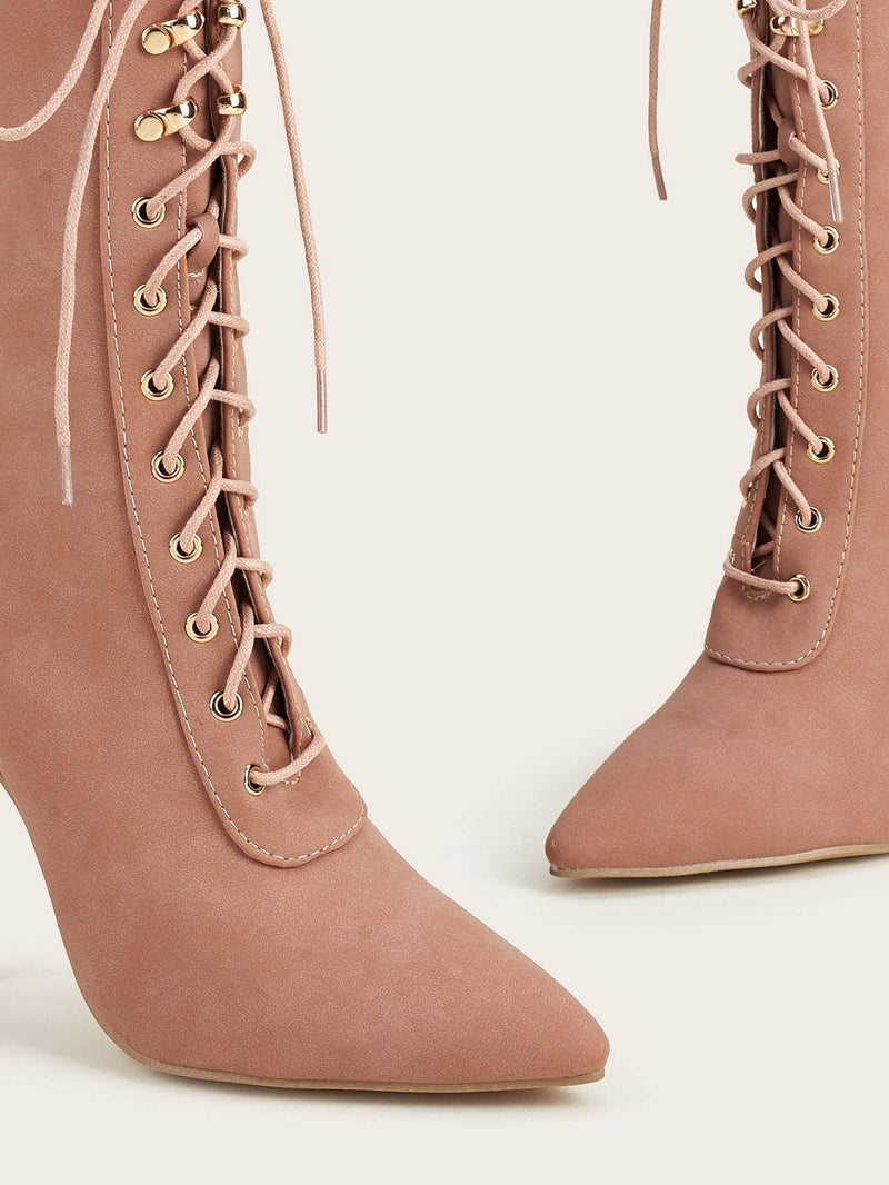 Point Toe Stiletto Lace Up Boots - 𝐄𝐑𝐔𝐌𝐉𝐔𝐒