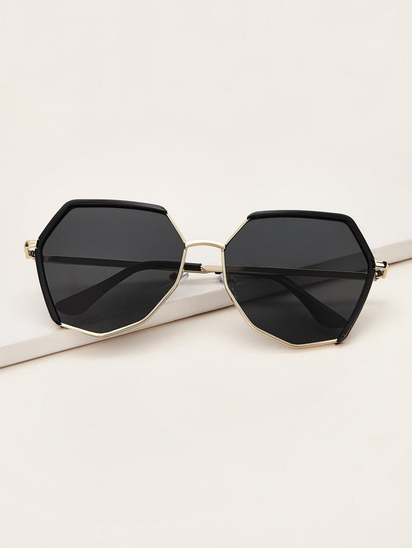 Polygon Frame Flat Lens Sunglasses With Case - 𝐄𝐑𝐔𝐌𝐉𝐔𝐒