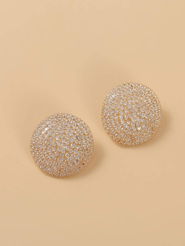 Rhinestone Decor Round Stud Earrings - 𝐄𝐑𝐔𝐌𝐉𝐔𝐒