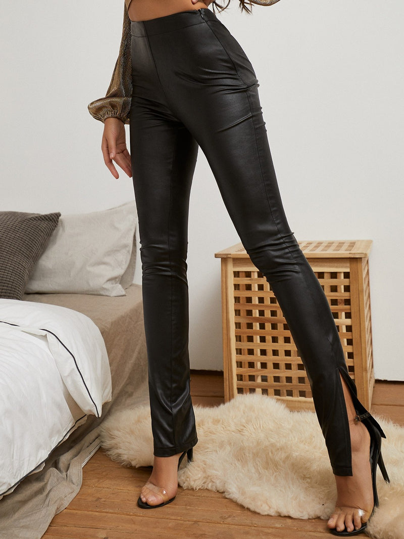 Zip Side Slit Hem Leather Look Pants - 𝐄𝐑𝐔𝐌𝐉𝐔𝐒