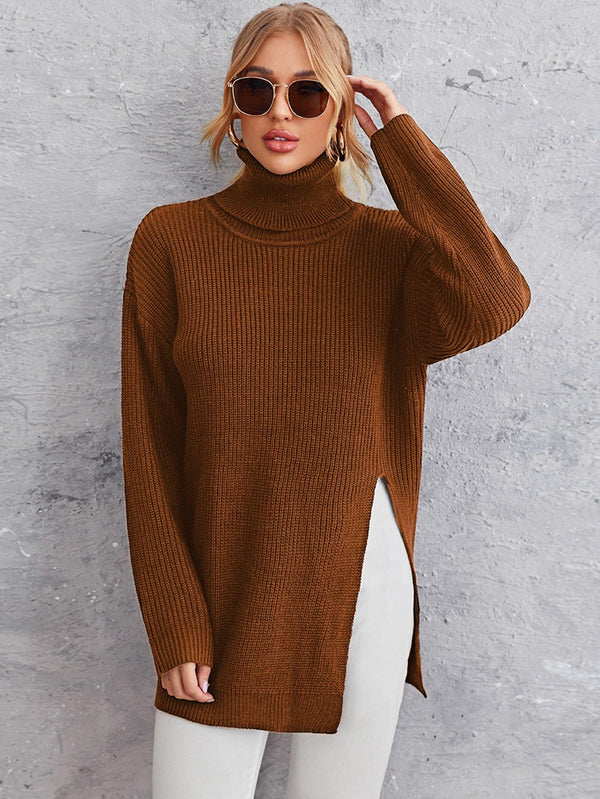 Solid High Neck Split Hem Sweater - 𝐄𝐑𝐔𝐌𝐉𝐔𝐒