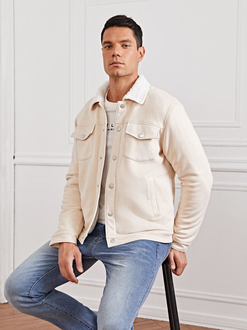 Button Front Suede Jacket - 𝐄𝐑𝐔𝐌𝐉𝐔𝐒