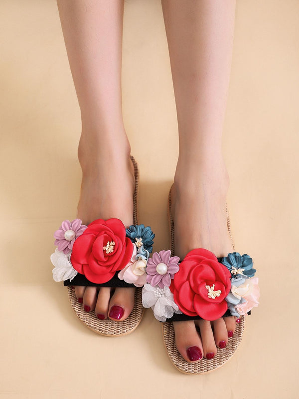 Colorful Flower Appliques Slippers - 𝐄𝐑𝐔𝐌𝐉𝐔𝐒