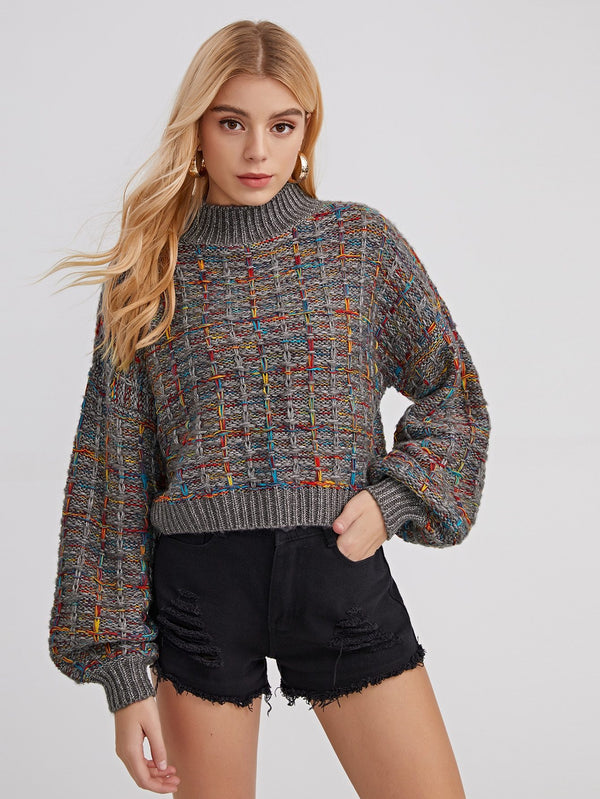 Plaid Mock Neck Drop Shoulder Sweater - 𝐄𝐑𝐔𝐌𝐉𝐔𝐒