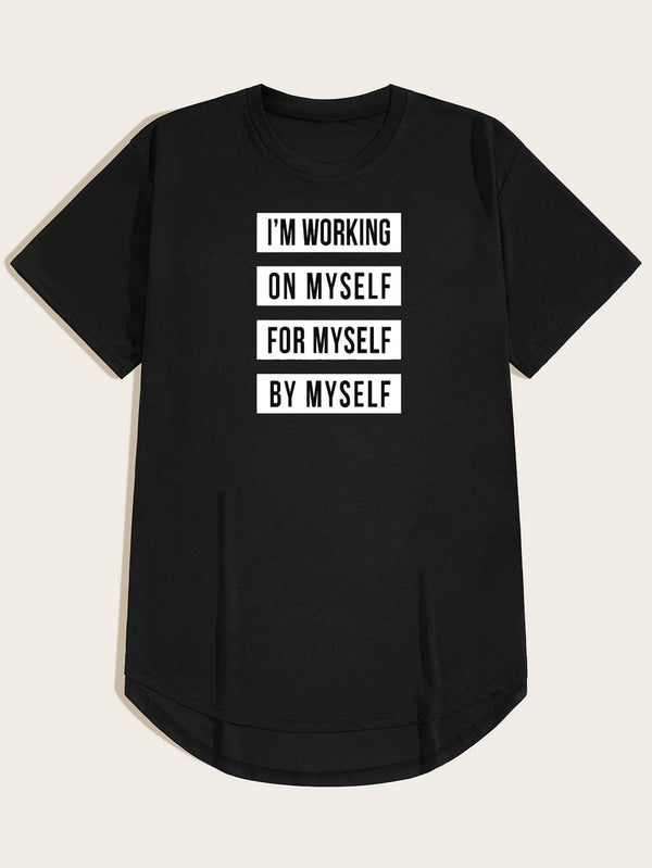 Men Slogan Graphic Curved Hem Tee - 𝐄𝐑𝐔𝐌𝐉𝐔𝐒