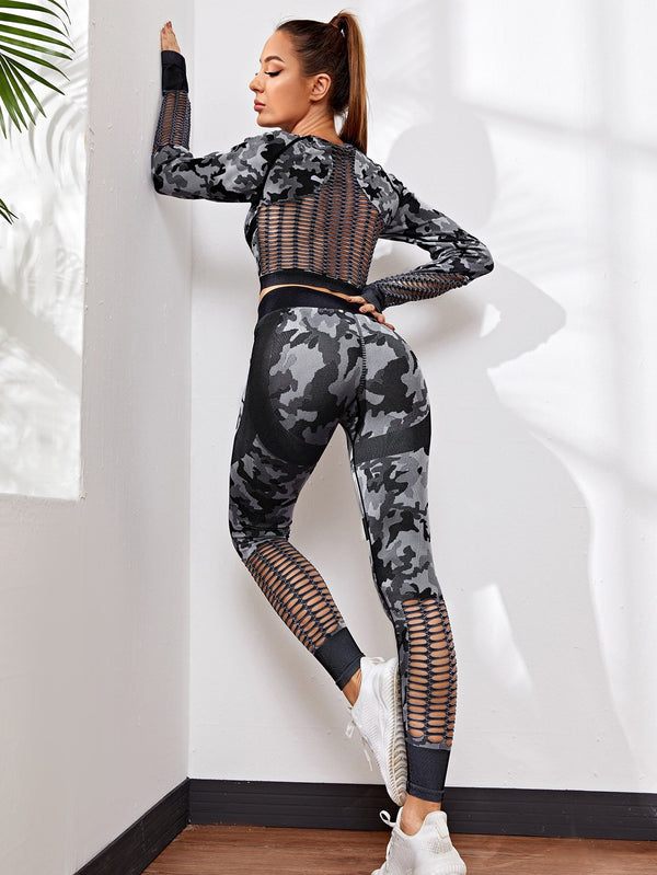 Camo Hollow Out Sports Set - 𝐄𝐑𝐔𝐌𝐉𝐔𝐒