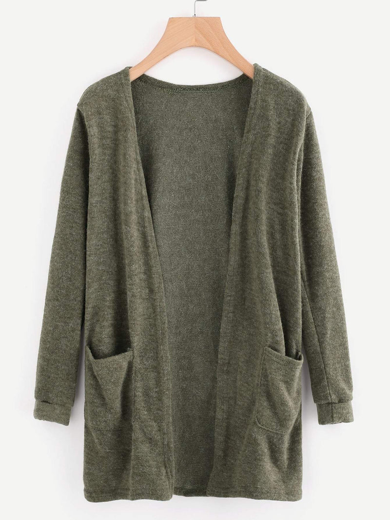 Open Front Cardigan With Pockets - 𝐄𝐑𝐔𝐌𝐉𝐔𝐒