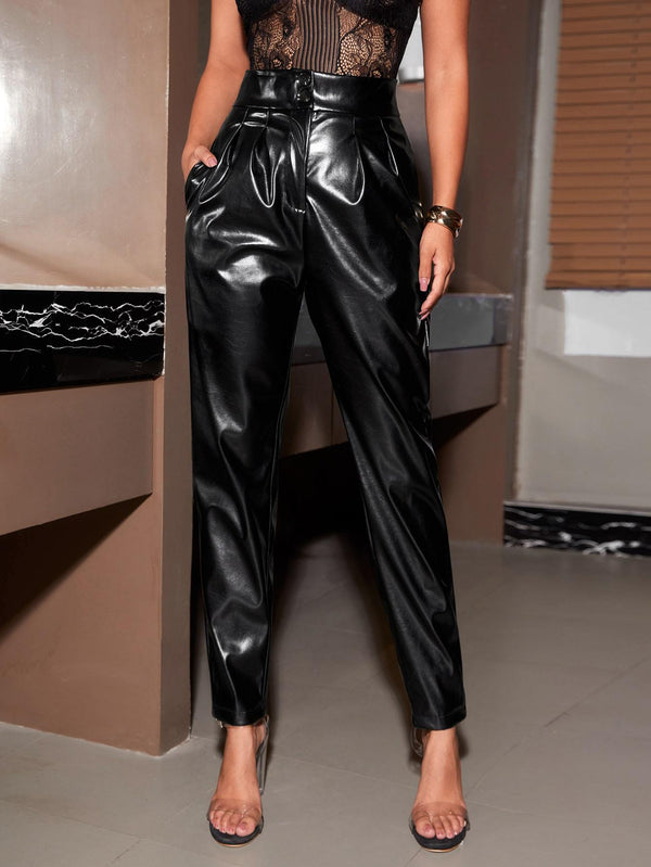 PU Leather High Rise Solid Pants - 𝐄𝐑𝐔𝐌𝐉𝐔𝐒