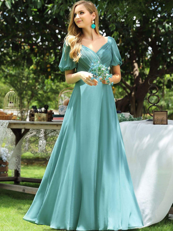 Puff Sleeve Ruched Bodice Prom Dress - 𝐄𝐑𝐔𝐌𝐉𝐔𝐒