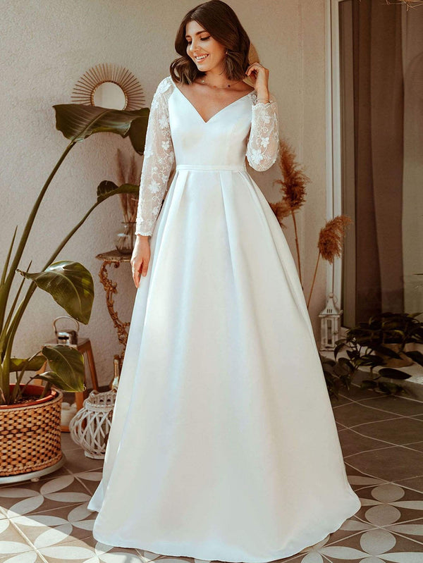 Sheer Embroidered Raglan Sleeve Boxy Pleated Prom Dress - 𝐄𝐑𝐔𝐌𝐉𝐔𝐒