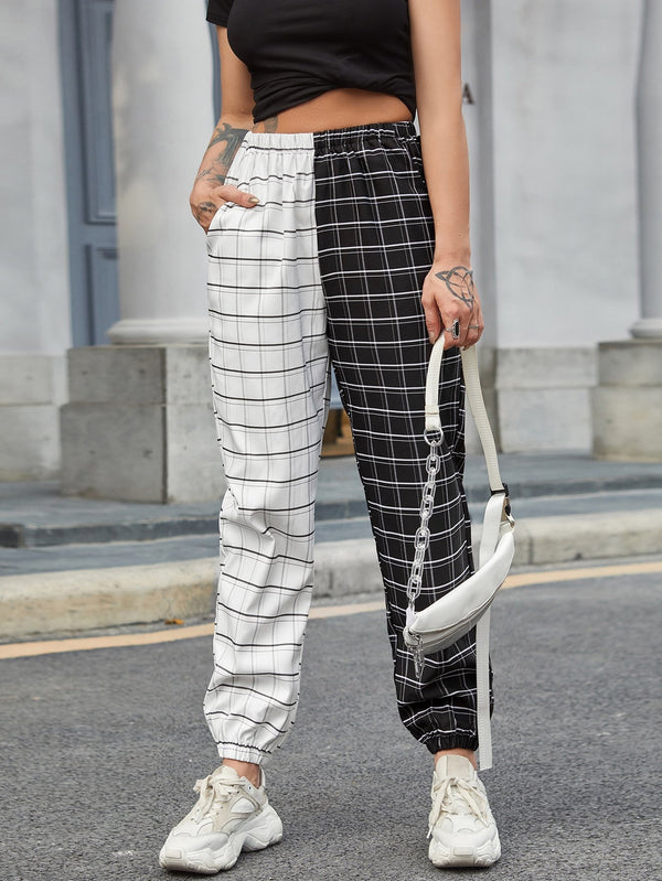Two Tone Plaid Print Tapered Pants - 𝐄𝐑𝐔𝐌𝐉𝐔𝐒