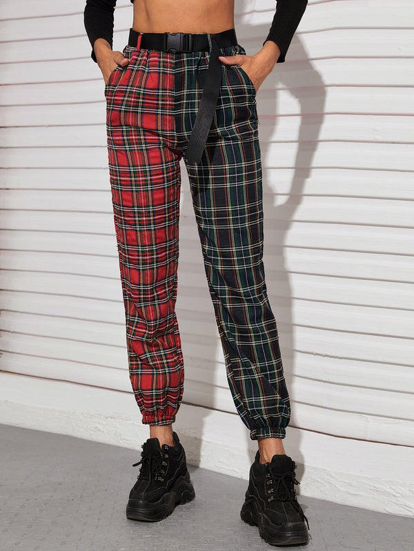 Two Tone Tartan Belted Joggers - 𝐄𝐑𝐔𝐌𝐉𝐔𝐒