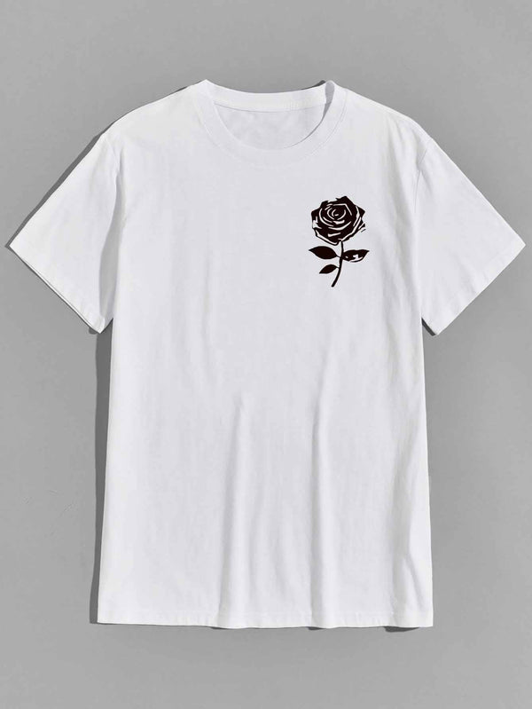 Men Rose Graphic Short Sleeve Tee - 𝐄𝐑𝐔𝐌𝐉𝐔𝐒
