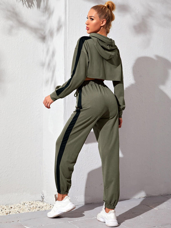 Side Panel Super Crop Sports Hoodie & Sweatpants - 𝐄𝐑𝐔𝐌𝐉𝐔𝐒