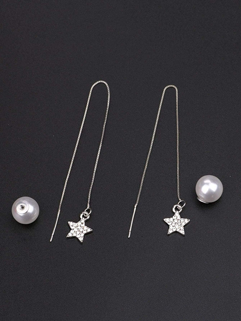 Star Detail Threader Earrings 1pair - 𝐄𝐑𝐔𝐌𝐉𝐔𝐒