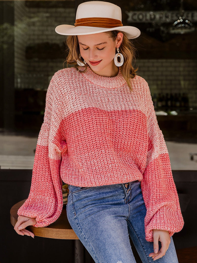 Two Tone Drop Shoulder Oversize Sweater - 𝐄𝐑𝐔𝐌𝐉𝐔𝐒