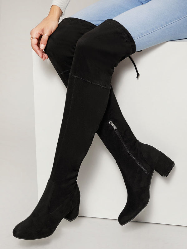 Almond Toe Low Chunky Heel Over The Knee Boots - 𝐄𝐑𝐔𝐌𝐉𝐔𝐒