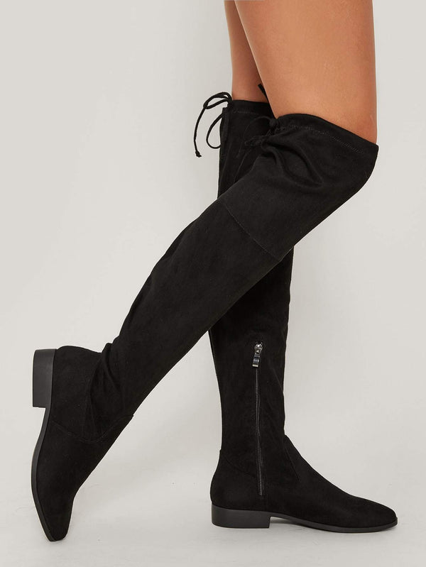 Almond Toe Over The Knee Back Tie Boots - 𝐄𝐑𝐔𝐌𝐉𝐔𝐒