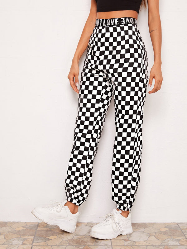 Letter Tape Waist Checkered Pants - 𝐄𝐑𝐔𝐌𝐉𝐔𝐒