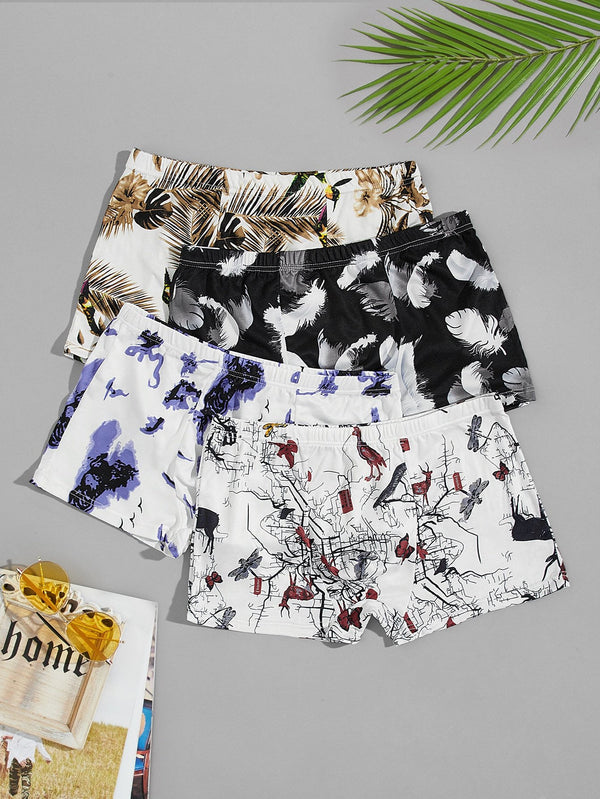 Men 4pcs Feather & Tropical Print Boxer Brief - 𝐄𝐑𝐔𝐌𝐉𝐔𝐒