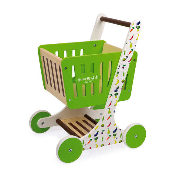 Green Market Wooden Shopping Trolley
