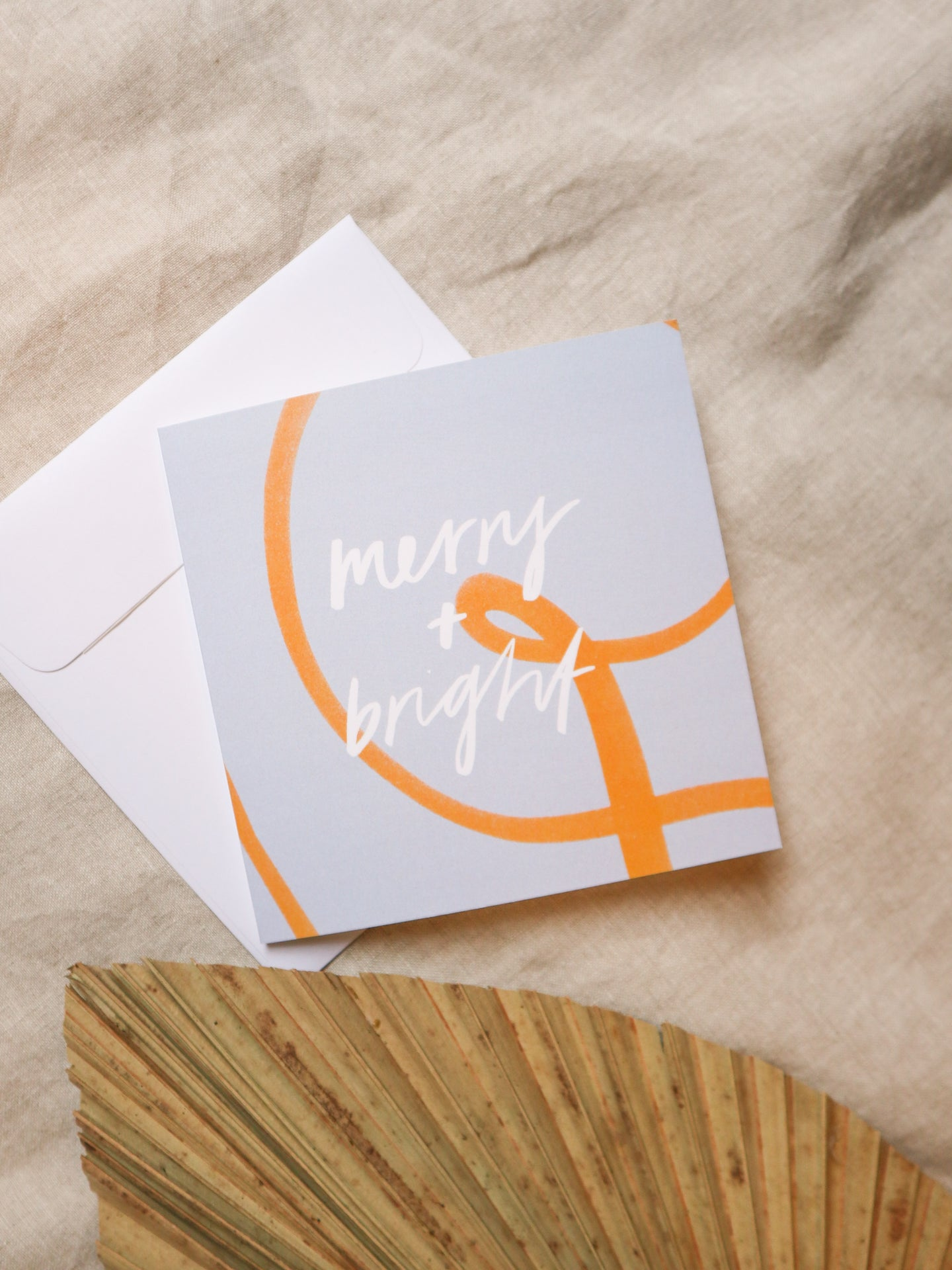 Merry & Bright Christmas Card - Blue