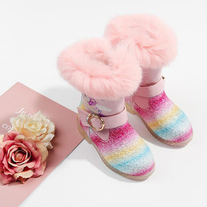 3-14 Year Kids Snow Boots Warm Winter Children Shoes  Unicorn Rainbow Girls Princess Shoes
