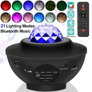 USB LED Star Night Light Music Starry Water Wave LED Projector Light Bluetooth Projector Sound-Activated-Koli mart