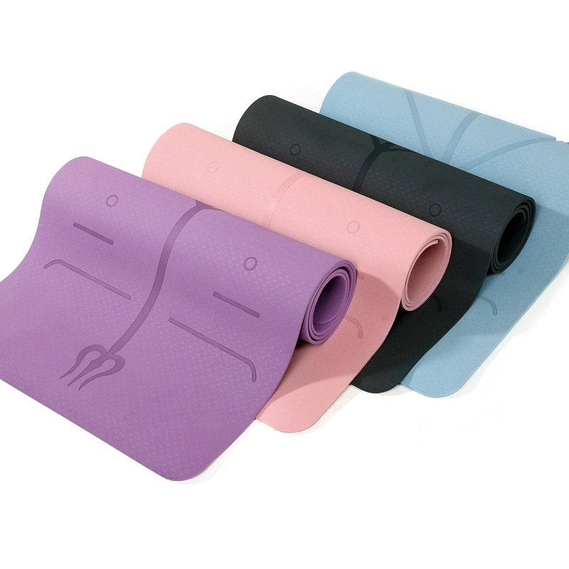 Yoga Mat with Position Line Non Slip-Koli mart