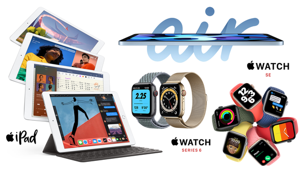 "Apple Launches new iPad Air 10.9"", iPad 10.2 (8th Gen) and Apple Watch Series 6 & SE"