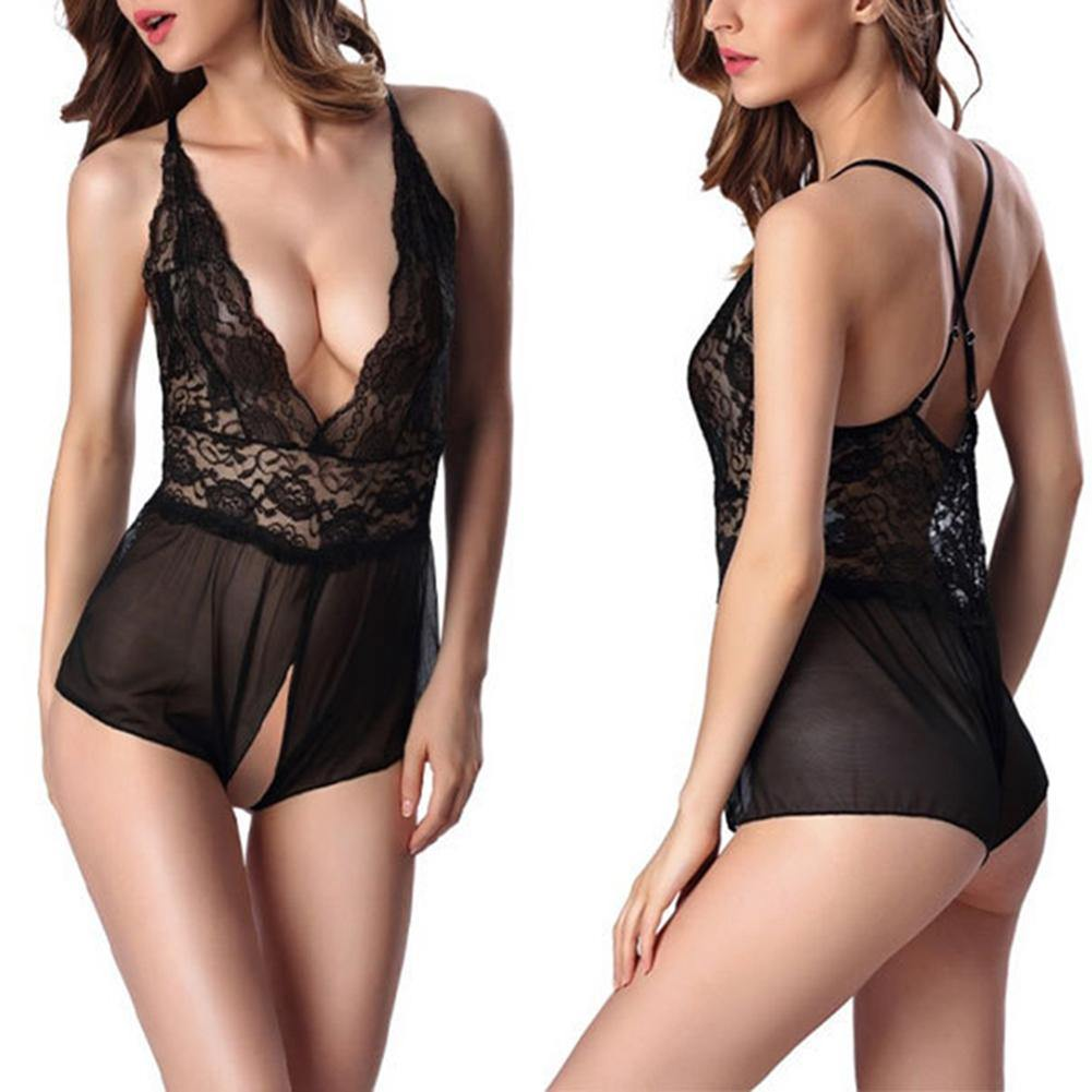 Women's Sexy V-Neck Lace Open Crotch Nightwear - monaveli - Sexy Underwear - Women's Sexy V-Neck Lace Open Crotch Nightwear - mymonaveli.com
