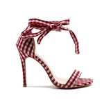 Load image into Gallery viewer, Plaid high heel ankle sandals - monaveli - shoes - Plaid high heel ankle sandals - mymonaveli.com