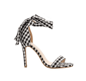 Plaid high heel ankle sandals - monaveli - shoes - Plaid high heel ankle sandals - mymonaveli.com