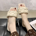 Load image into Gallery viewer, Square Toe Weave Flat Slippers - monaveli -  - Square Toe Weave Flat Slippers - mymonaveli.com