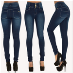 Load image into Gallery viewer, Women's high waist buttonholes Slim stretch jeans