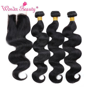 Brazilian Body Wave Hair Extensions 4 bundles With Closure