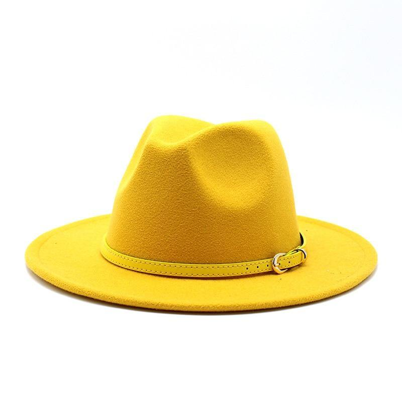Wide Brim Unisex Fedora Hat With Belt - monaveli -  - Wide Brim Unisex Fedora Hat With Belt - mymonaveli.com