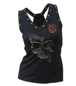Load image into Gallery viewer, Studded Skull Rose Tank Top - monaveli - Women's Clothing - Studded Skull Rose Tank Top - mymonaveli.com