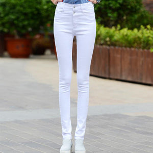 Elastic high waist slim jeans trouser