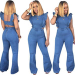 Load image into Gallery viewer, Women's sling denim jumpsuit jeans