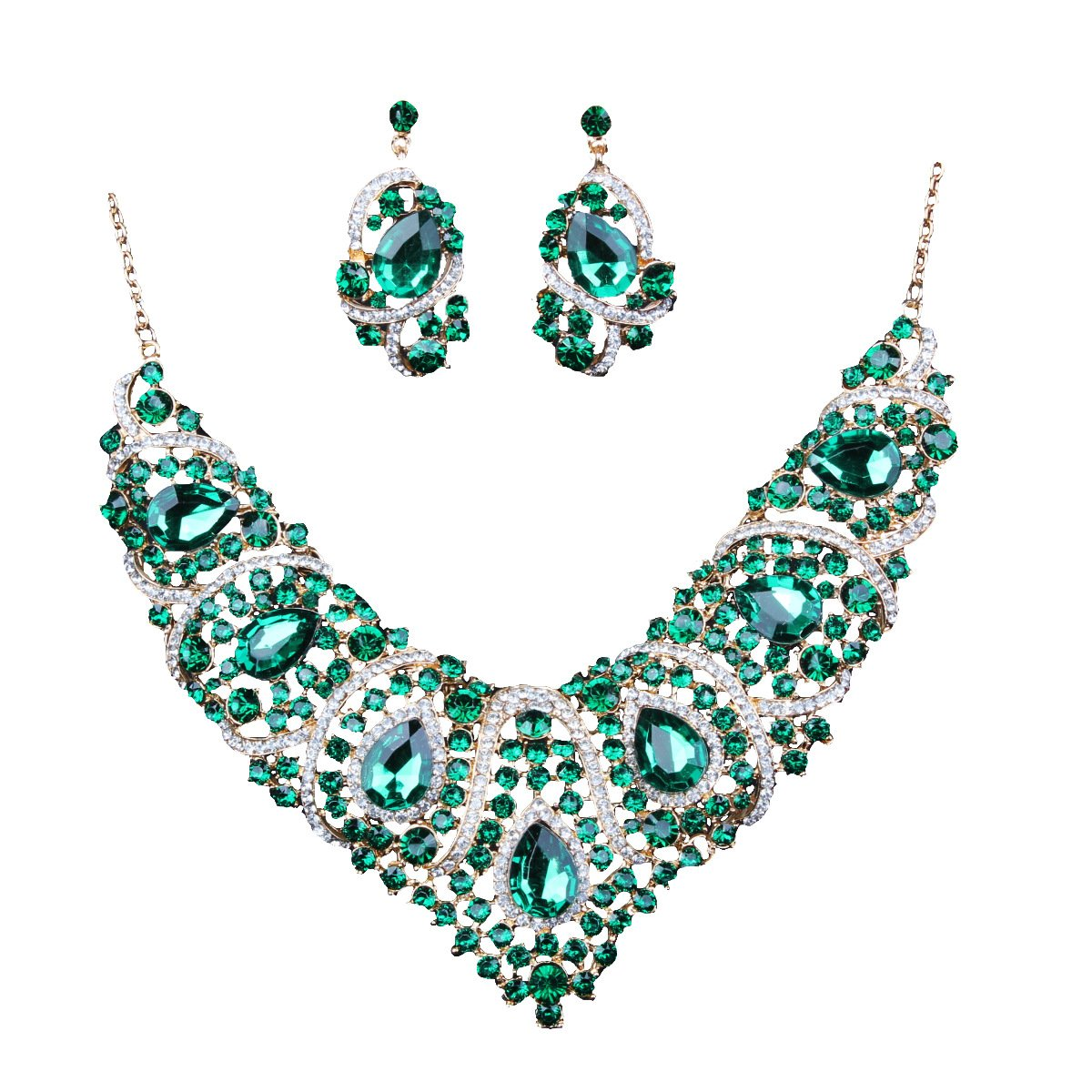 Diamond explosive necklace & earring set - monaveli - jewelry - Diamond explosive necklace & earring set - mymonaveli.com