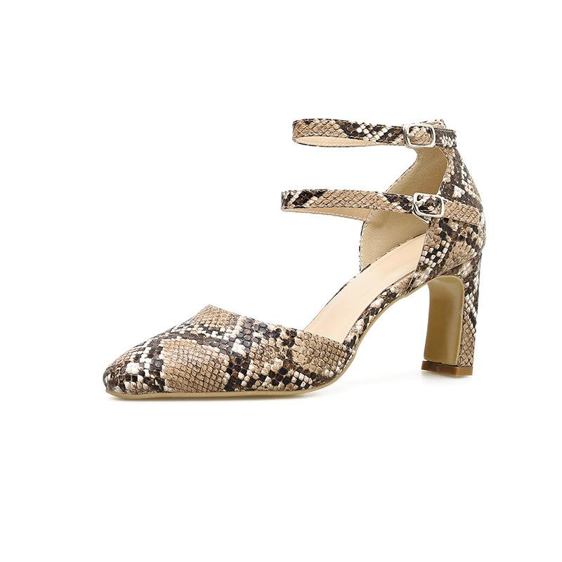 Snake pattern thick sandals - monaveli - shoes - Snake pattern thick sandals - mymonaveli.com