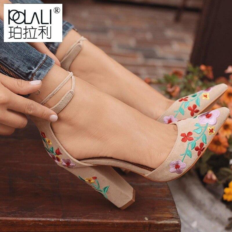 Embroidery Flower High Heel - monaveli -  - eprolo Embroidery Flower High Heel - mymonaveli.com