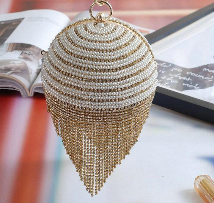 Diamond Tassel Pearl Beaded Clutch Bag - monaveli -  - Diamond Tassel Pearl Beaded Clutch Bag - mymonaveli.com