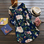 Load image into Gallery viewer, Women Floral Flower Roll up Sleeve Loose Dress