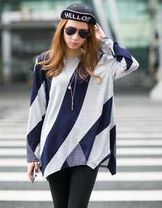 Stripe pattern long loose jacket - monaveli - Women's Clothing - Stripe pattern long loose jacket - mymonaveli.com