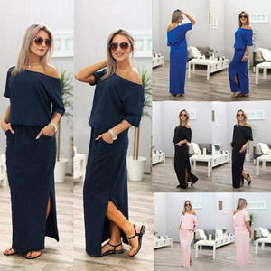 Sexy Boat Neck Off Shoulder Party Maxi Dress