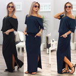 Load image into Gallery viewer, Sexy Boat Neck Off Shoulder Party Maxi Dress